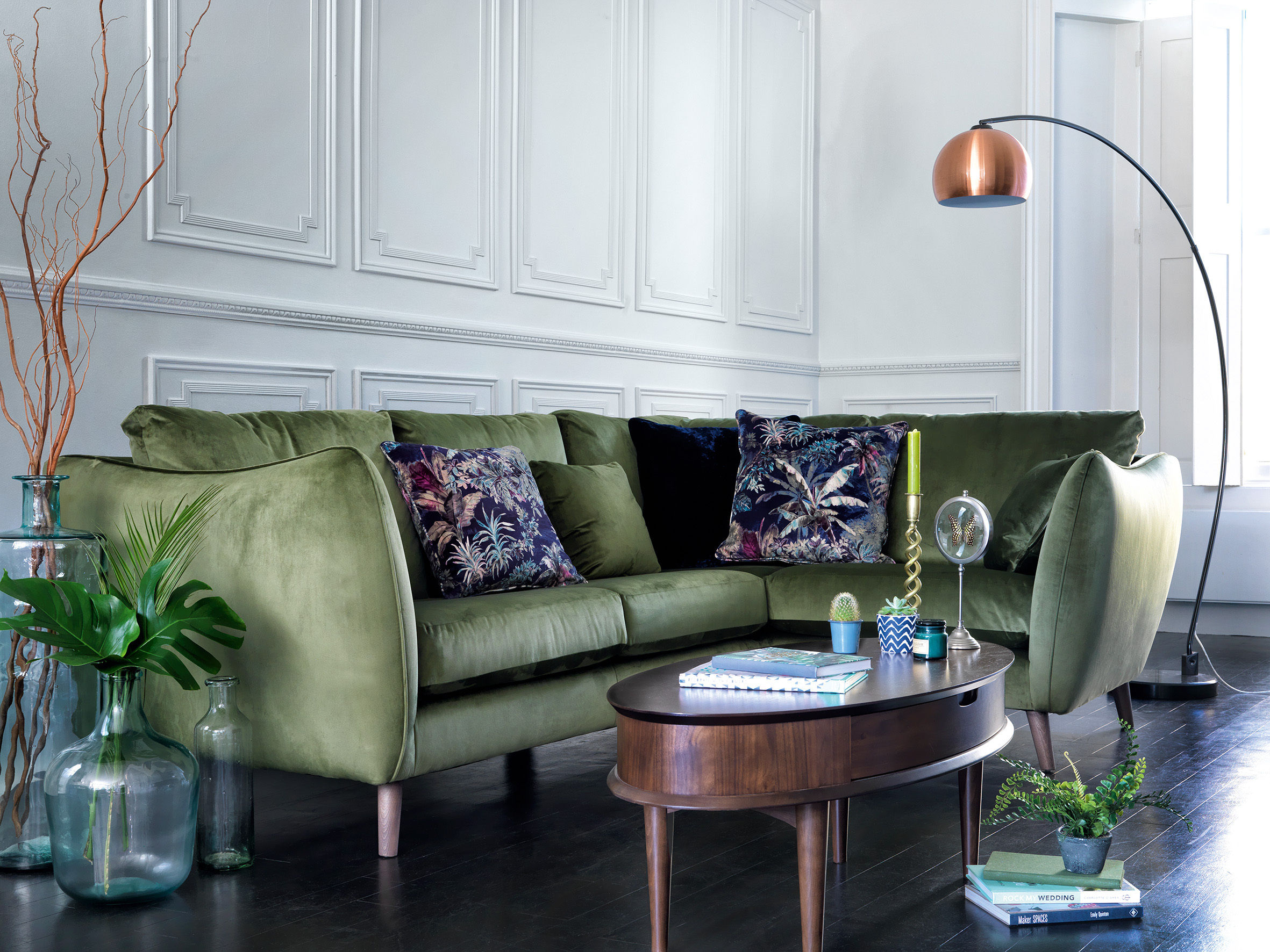 City Loft fabric corner sofa, £1,465, currently reduced online to £1,095; Copper retro ball floor lamp, £379 currently reduced online to £279, Furniture Village.