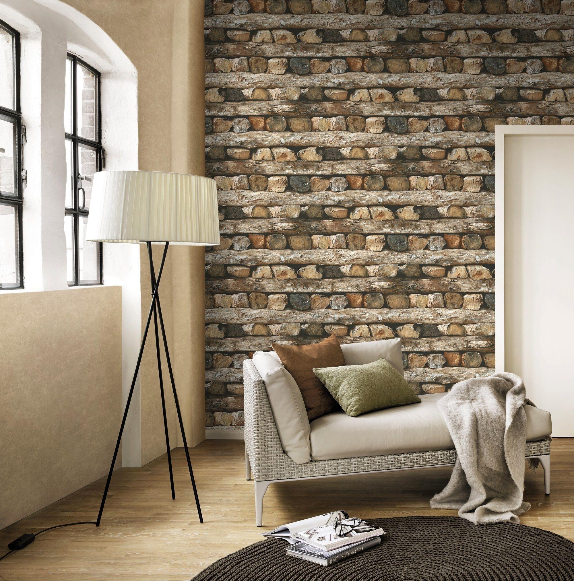 Rasch Log Pattern Wallaper Rustic Wood Stripe Motif Faux Effect, £16.99, I Want Wallpaper