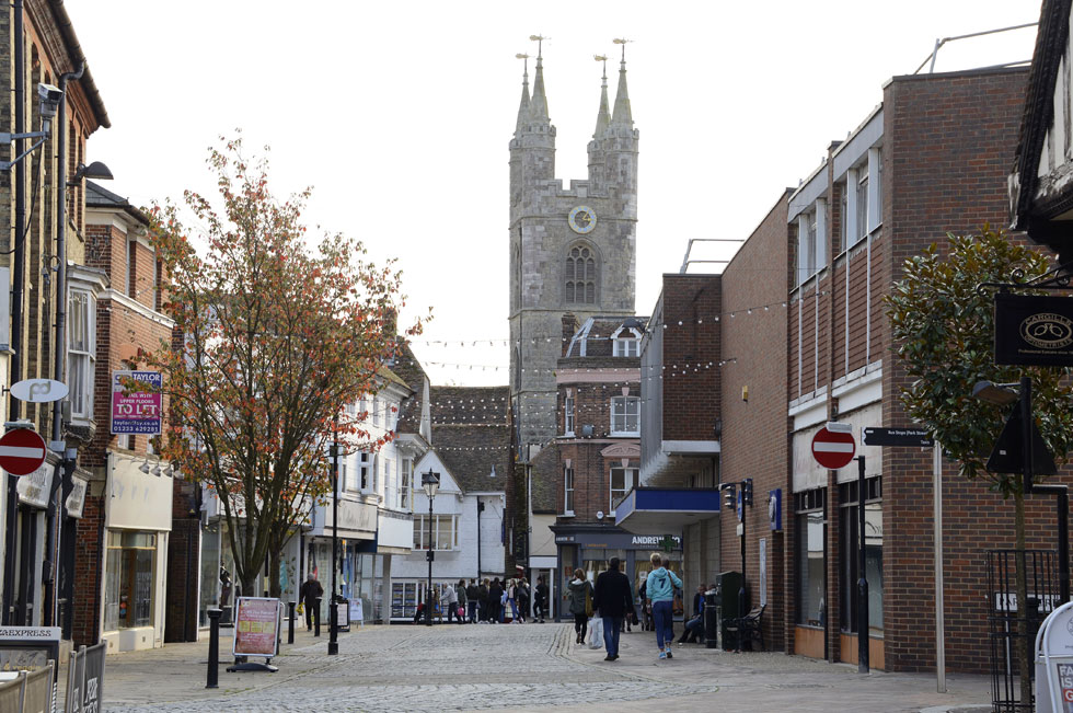 Ashford Town Centre looking towards St Mary's Church