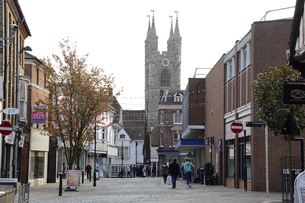 Ashford Town Centre looking towards St Mary's Church
