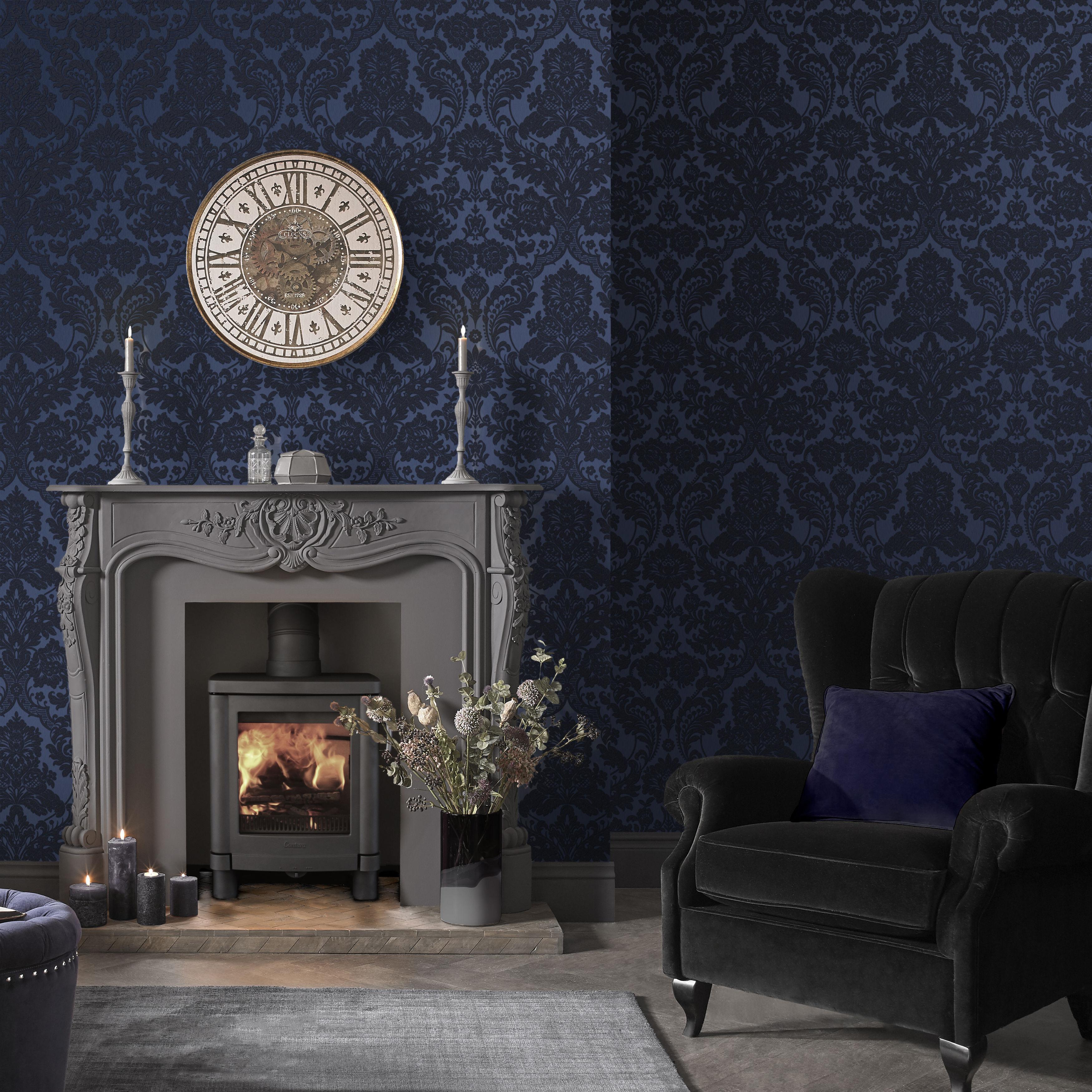 Gothic Damask Flock Cobalt Wallpaper, £75 per roll, in a rich cobalt, Graham & Brown