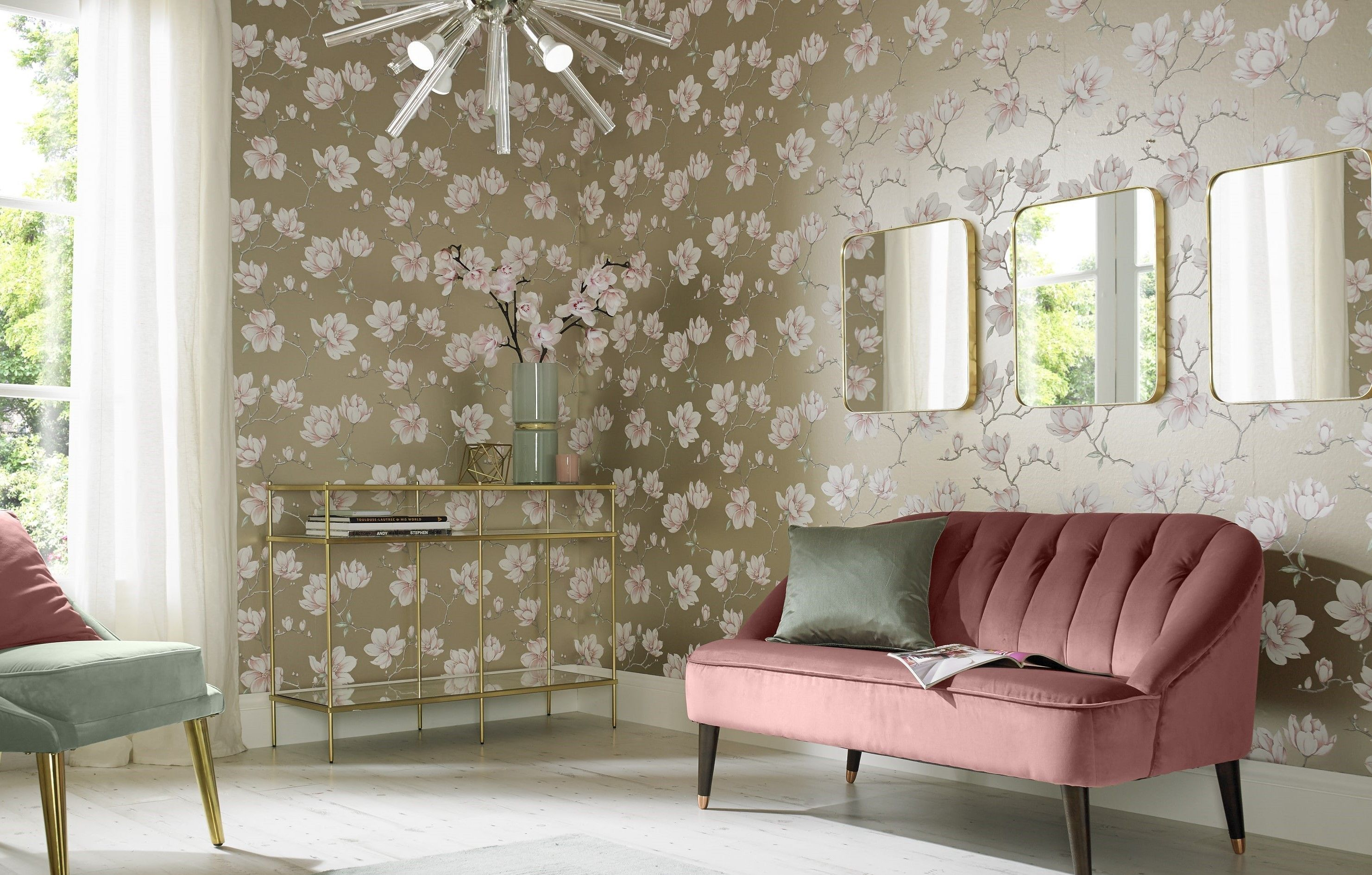 Graham & Brown's 'Wallpaper of the Year' for 2018, Pierre, which is seen here in a pink hand-painted magnolia design with a white gold metallic backdrop, currently from £40 to £32 a roll.
