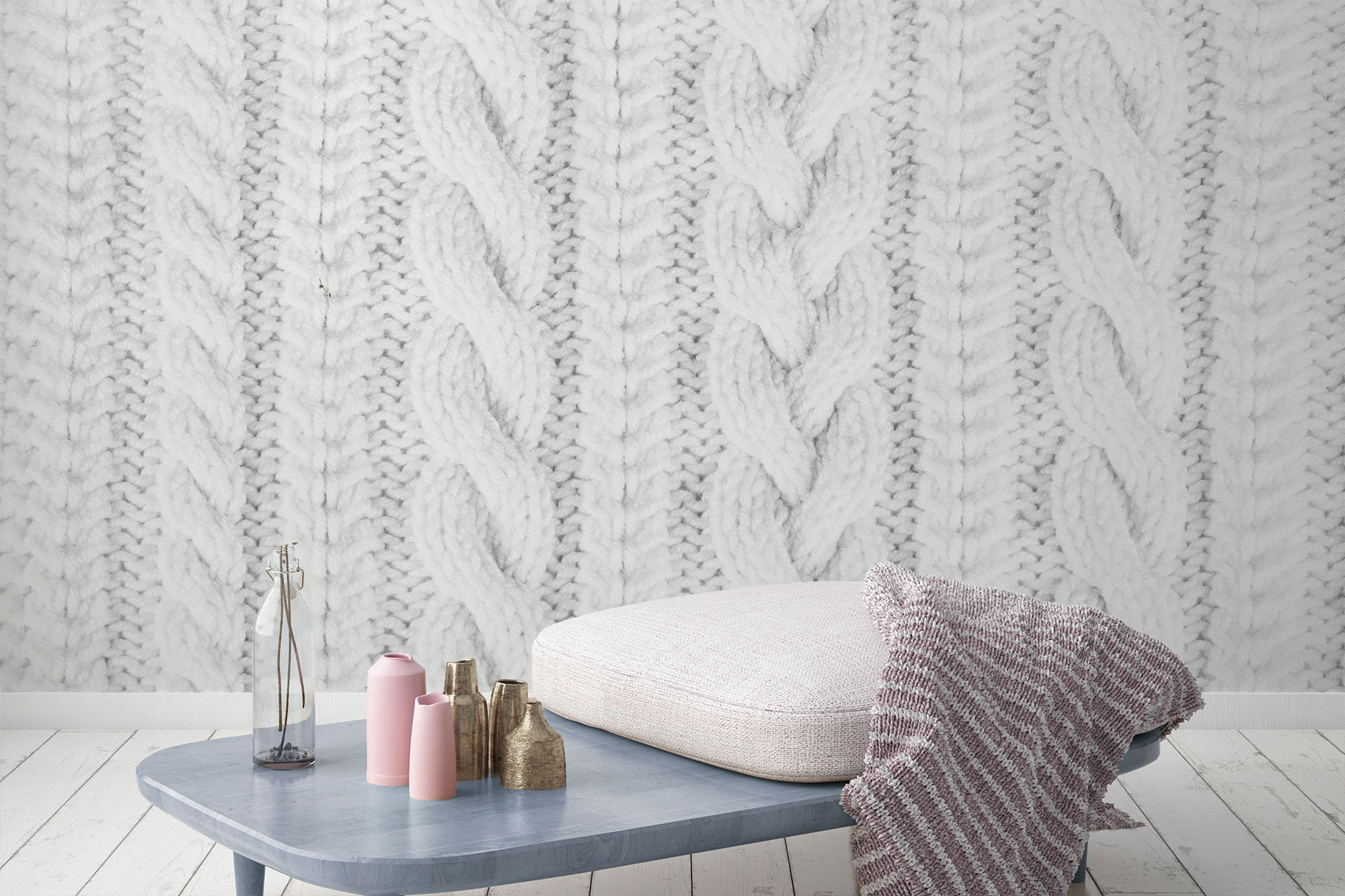 White Knit Texture Wall Mural, £36 per square metre, Murals Wallpaper