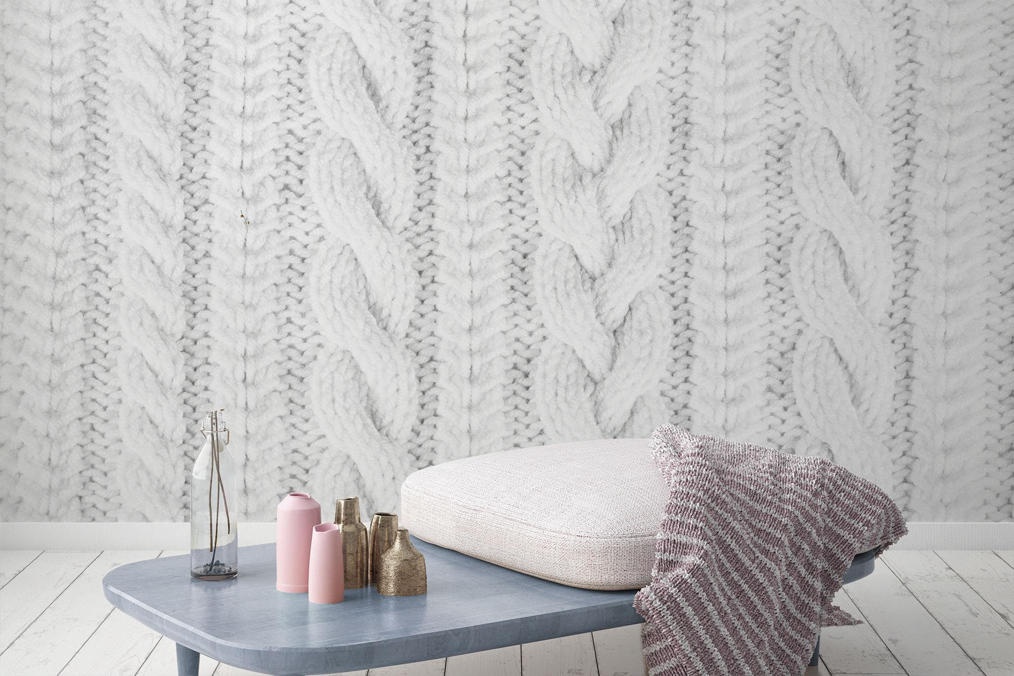 White Knit Texture Wall Mural, £36 per square metre, Murals Wallpaper